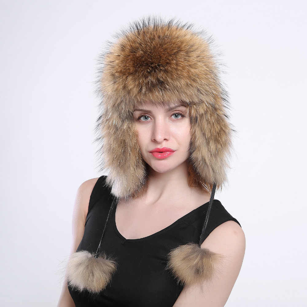 women s genuine fox fur Trapper Hat with pom poms winter ear flaps bomber  hats muti colors ef869abf7692