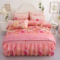 Classic Comforter Bedding Sets Home Textile Non slip Sheet Cover Bedroom Decor Flower Printing Bedspread Pillowcase ropa de cama