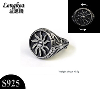 Male rings,925 sterling silver domineering ring retro rotating sun opening ring men women personality silver accessories