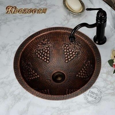 Ретро Цельная медная раковина художественная ручная круговая раковина для ванной комнаты