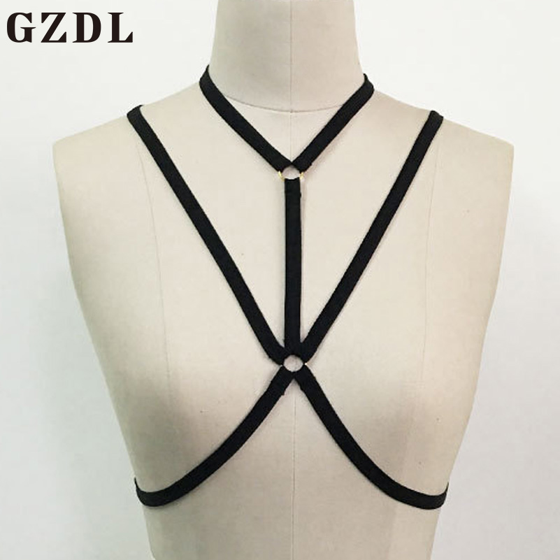 GZDL Sexy Women Bra Wireless Black String Triangle Bralette One Piece Fashion Naked Backless Ladies Crop Top Lingerie Bra CL3605