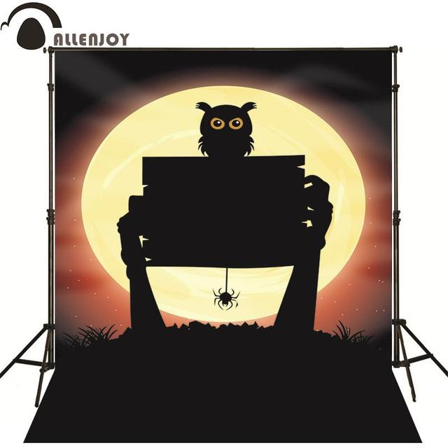 Allenjoy Photographic Backdrop Spider Owl Moon Hand Halloween Invitation Card Party Baby Photocall Backgrounds For Photo