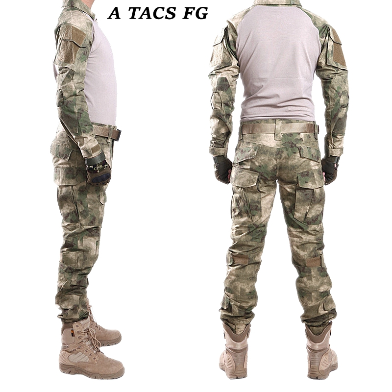 A TACS FG Men Winter Tactical Combat Uniform Set Shirt + Pants W/ Knee & Elbow Pads Military Hunting Training Uniform Sets 7pcs xiaomi skating cycling helmet knee pads elbow wrist brace set