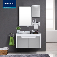 JOMOO High end Bathroom Vanities with mirror locker self glazing basin towel rack PVC material Modern bathroom cabinet