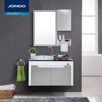 JOMOO High end Bathroom Vanities with mirror locker self glazing basin towel rack PVC material Modern bathroom cabinet