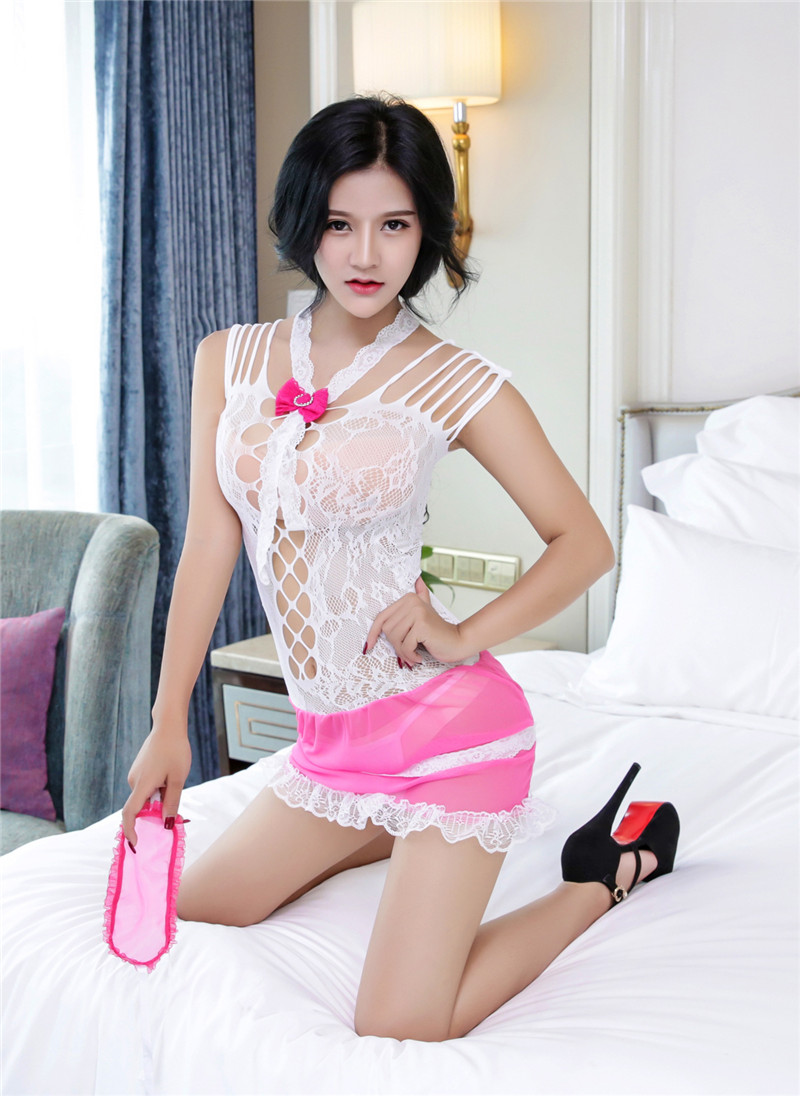 2018 Hot Sexy Lingerie Women Set Lace Peacock Embroidery Cheongsam Sex Pajamas Suits Female Underwear Sleepwear Sexy Costumes