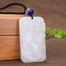 XinJiang White Jade Brave Troops Pendant Necklace Drop Shipping Jade Stone Lucky Amulet Necklace With Chain For Women Men недорого