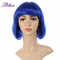 Blice Hot Popular Party Wig Pure Color Blue Medium Straight Wig Blunt Bang Wig Kanekalon Fiber Synthetic Wigs Women