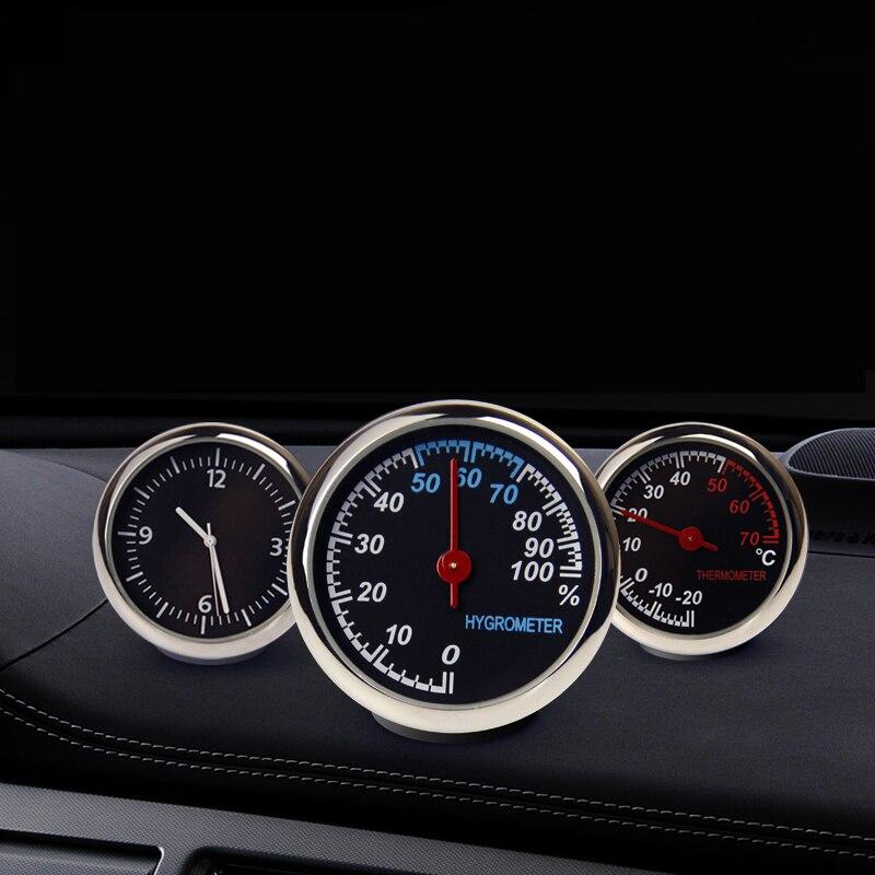 Exquis De Voiture Mécanique Lumineux Quartz Horloge Numérique Pointeur pour Auto Décoration Fournitures De Voiture Mécanique Thermomètre Hygromètre