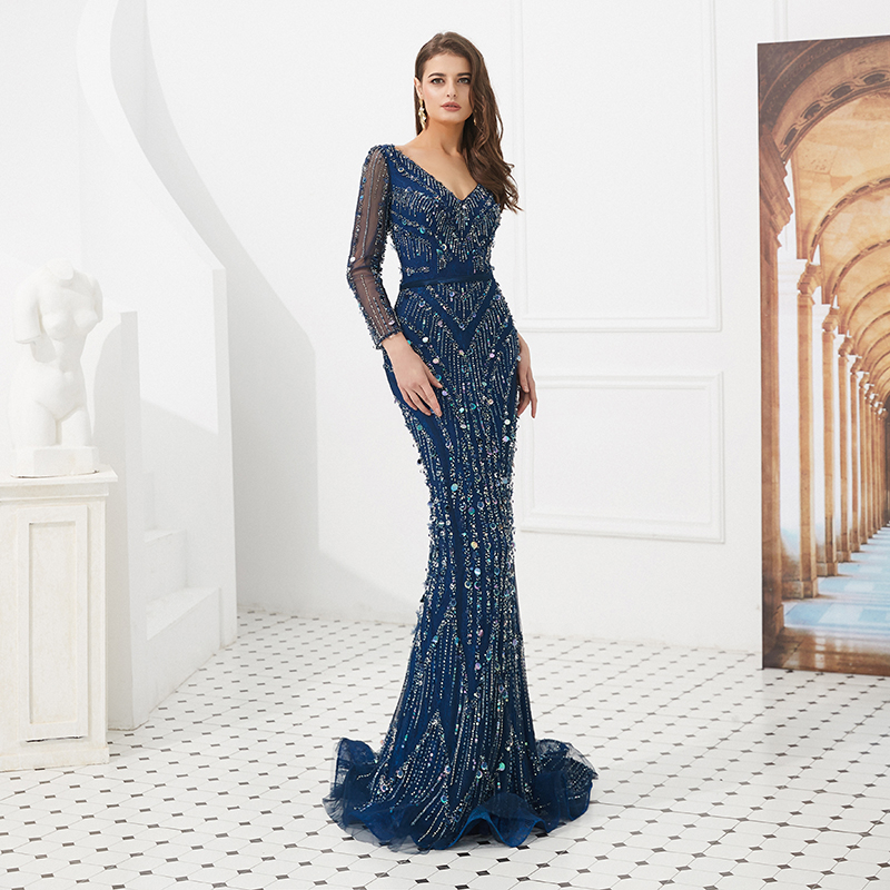2019 Sexy Crystal Beaded Long Sleeve Evening Dresses V Neckline Mermaid Cut Blue Tulle Women Evening Gown