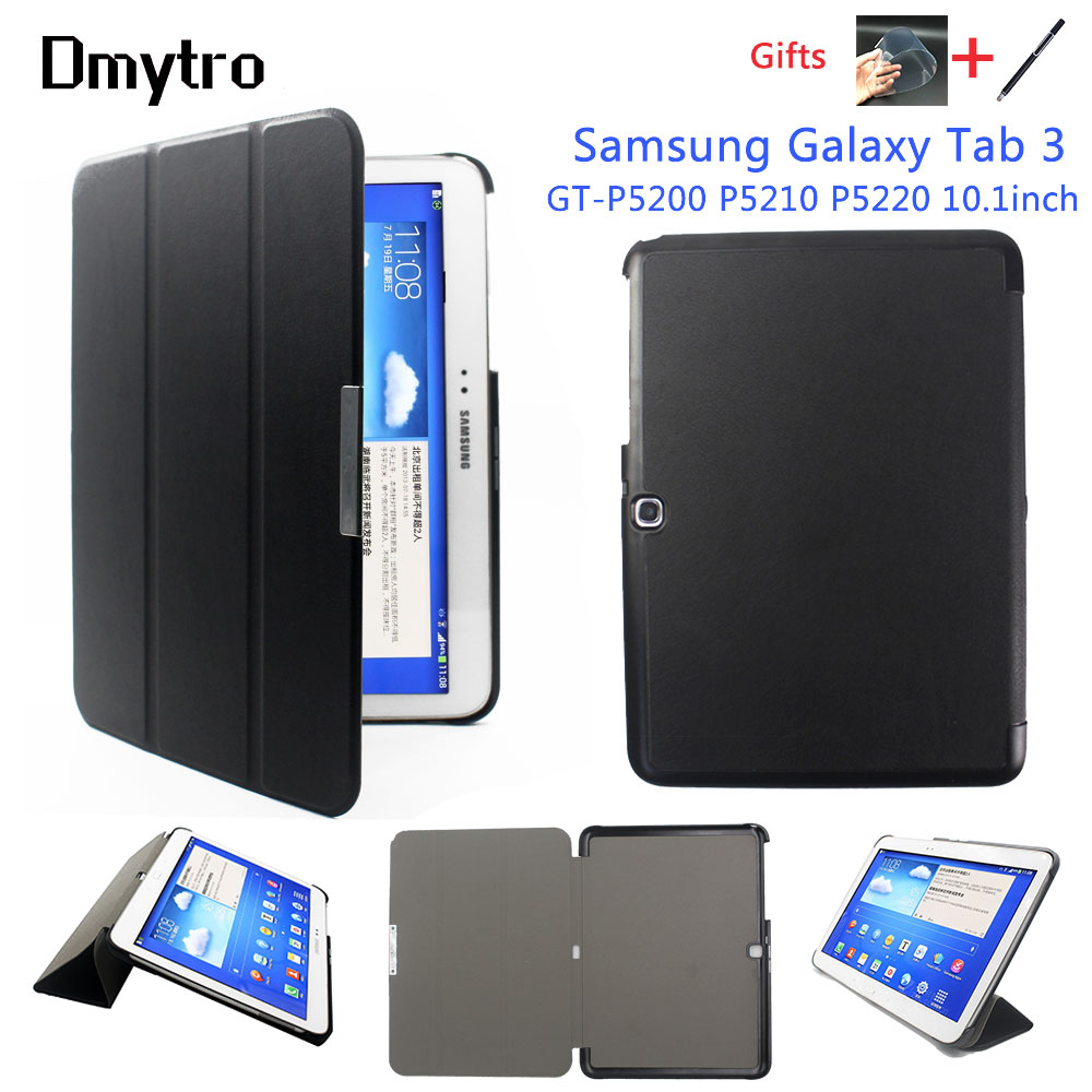 Flip Slim PU Leather Protective <font><b>Case</b></font> For Samsung Galaxy Tab 3 10.1 inch P5200 P5220 <font><b>P5210</b></font> Tablet Stand Auto Sleep Cover <font><b>Case</b></font> image