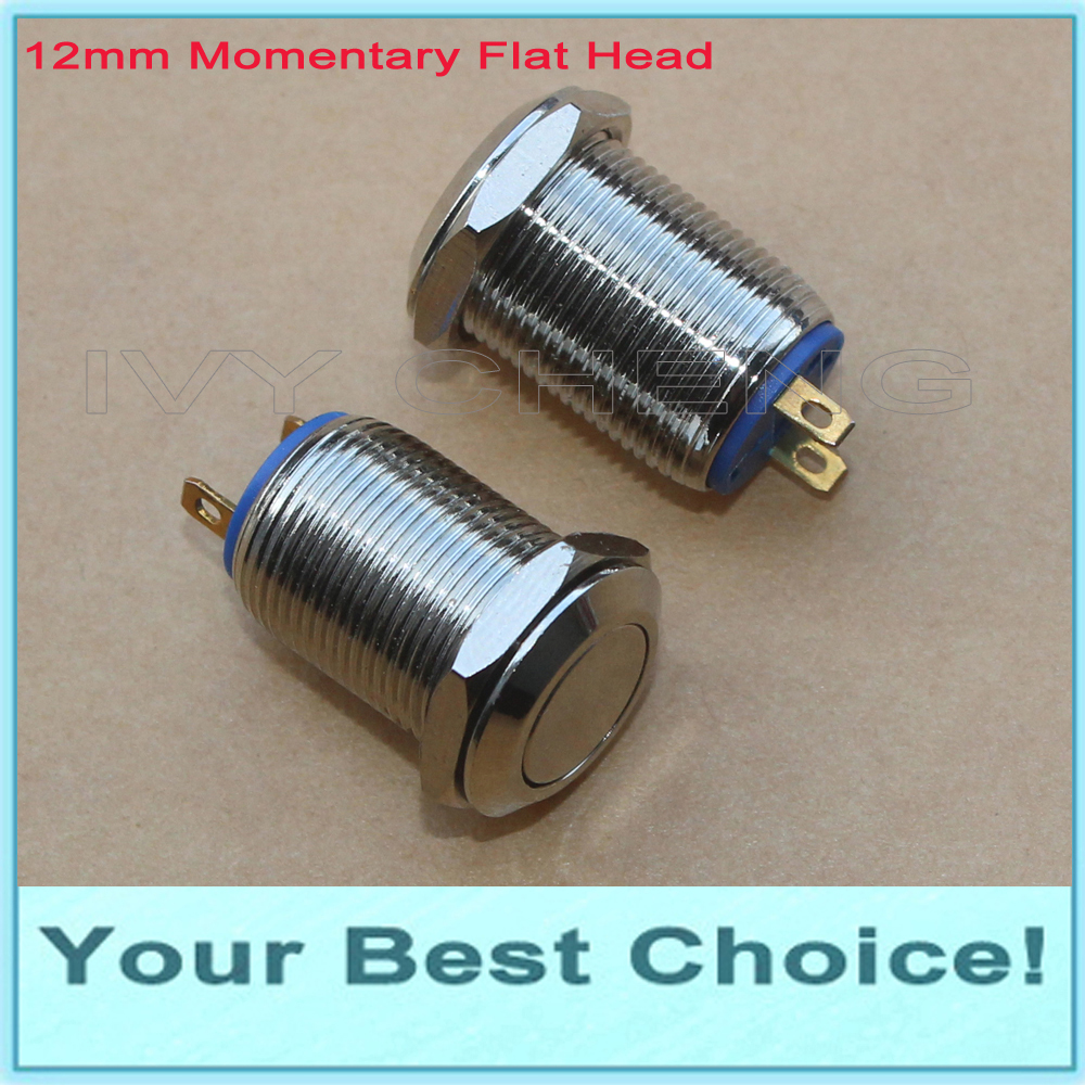 100pcs Lot 12mm Waterproof Momentary Metal Push Button Switch with Flat Head 2Pins DHL Free Shipping