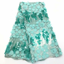 2019 Beaded 3d African Lace Fabric High Quality Nigerian Laces Fabrics Latest Design French Tulle For WomenHX1551-1