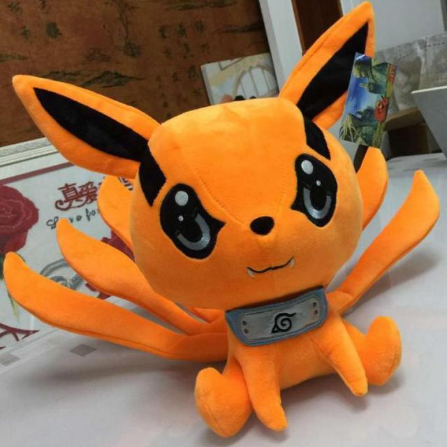Anime japonês Brinquedo 25-30 cm Naruto Uzumaki Kyuubi Kurama Nove-contos Demônio Raposa de Pelúcia Macia Bicho de pelúcia brinquedo Meninas Caçoa o Presente Do Amante