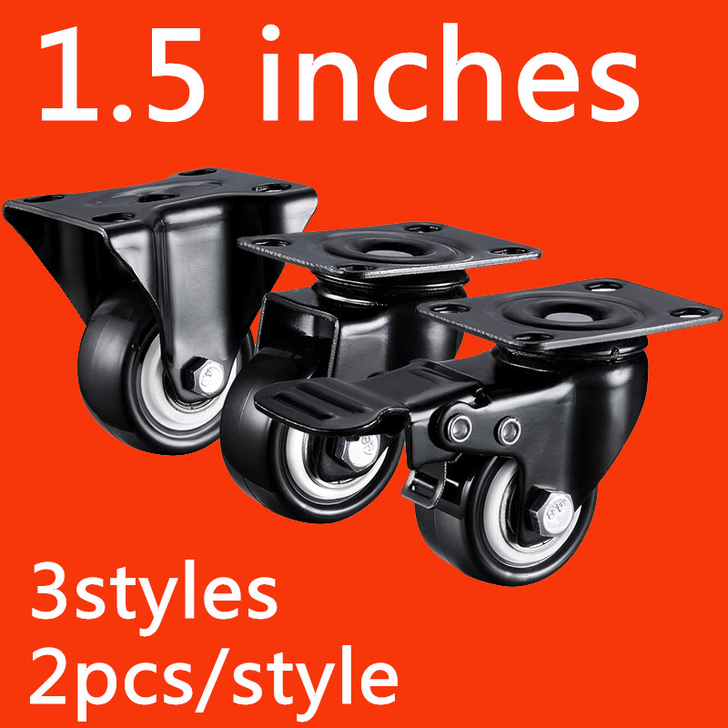 2pcs 1.5 inches 41mm Black Office Chair Swivel Rubber Casters Industrial Universal Brake Wheels Bearing Capacity 90kg 4pcs 2 50mm black office chair swivel rubber casters industrial universal brake wheels