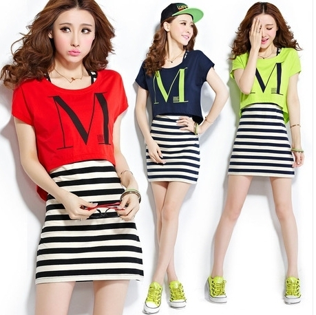 2016 New striped printed set 2 woman sportwear summer track suits casual women tunic dress red,neon green,black M,L,XL,XXL