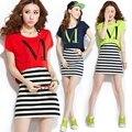 2016 nova listrado impresso set 2 mulher sportwear verão fatos de treino casual mulheres túnica vestido vermelho, Neon verde, Preto m,L Xl, Xxl