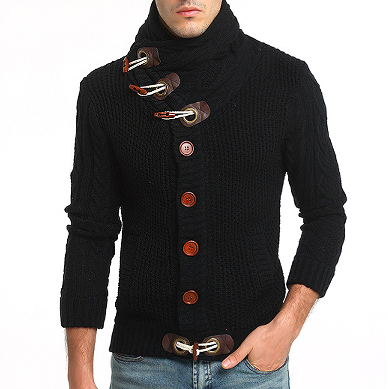 Sweater Men 2018 Men's Brand Casual Slim Computer Knitted Sweater Male Horn Buckle Thick Cardigan Turtleneck Men Sweater XXL
