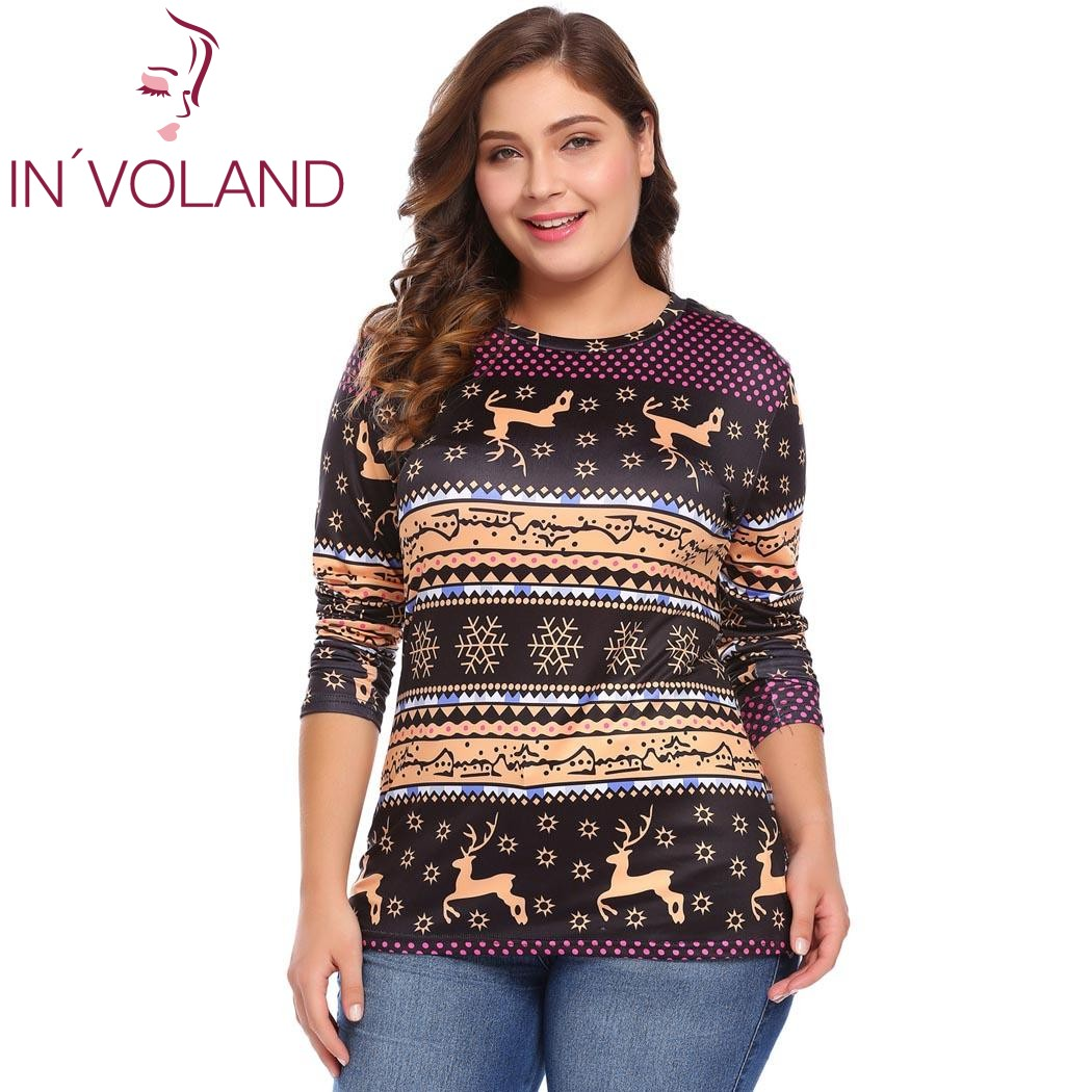 IN'VOLAND Women T Shirts Tops Plus Size L 4XL Spring ...