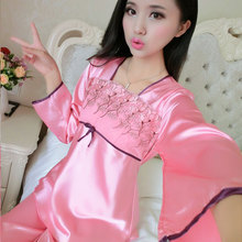 2015 spring and autumn short sleeved long sleeved silk pajamas suit ladies pajamas silk clothing Home