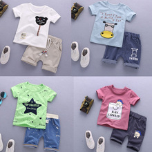 2019 Baby summer short-sleeved suit Korean version of handsome boy 1-4 years old boy summer clothes 1 set kids clothing anlencool free shipping attitude baby boy valley korean version of the leisure suit baby boy clothing set spring baby clothing
