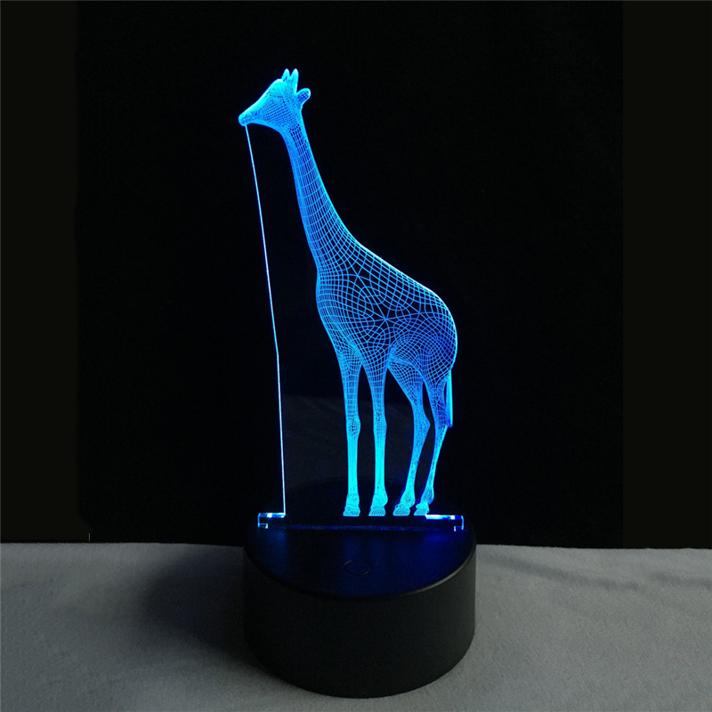 Acrylic 7 Color Changing giraffe 3D LED nightlight of bedroom lamp livingroom lights desk table Decor Night Light Kid Gift