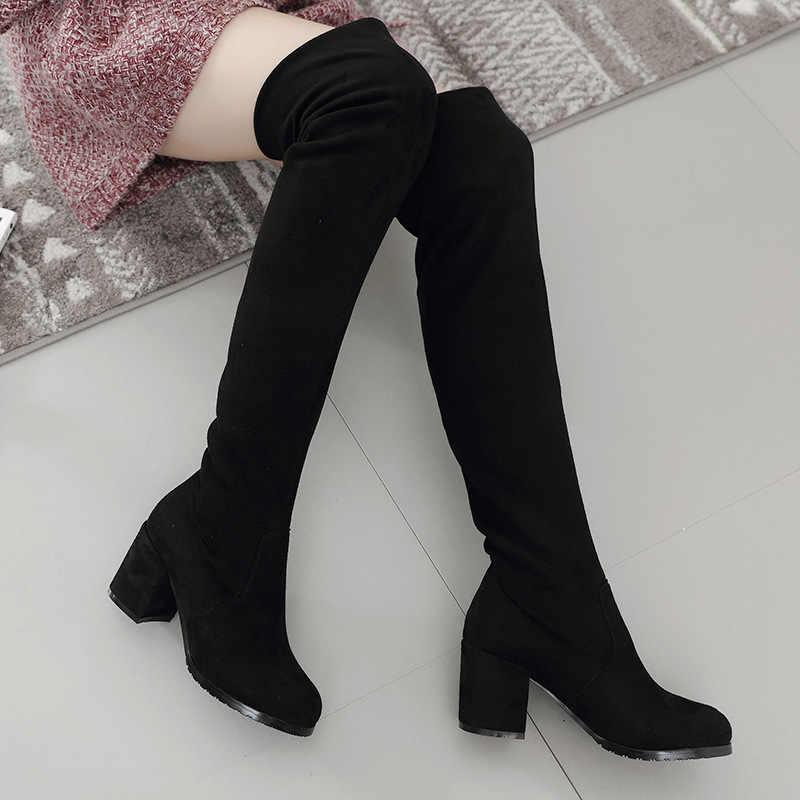 Пикантные облегающие эластичные ботфорты из флока; женская обувь; коллекция 2019 года; сезон осень-зима; женские высокие сапоги до бедра на высоком каблуке; botas