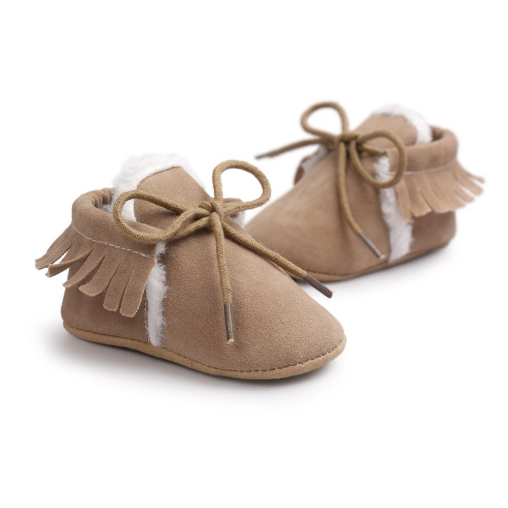 WEIXINBUY Baby Boys Girls First Walkers PU Suede Leather Moccasins Fringe Soft Soled Non-slip Footwear Shoes For 0-18M