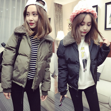 Cute Girls 2016 Simple Style Clothing Autumn Winter Cashmere Collar Warm Slim Cotton Down Jacket Coat for Women Black Army Green