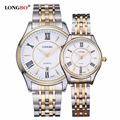 LONGBO Waterproof Luxury Brand Lovers Couple Men Watches Women Gold Stainless Steel Quartz Wrist Watch Relogio Masculino 80081