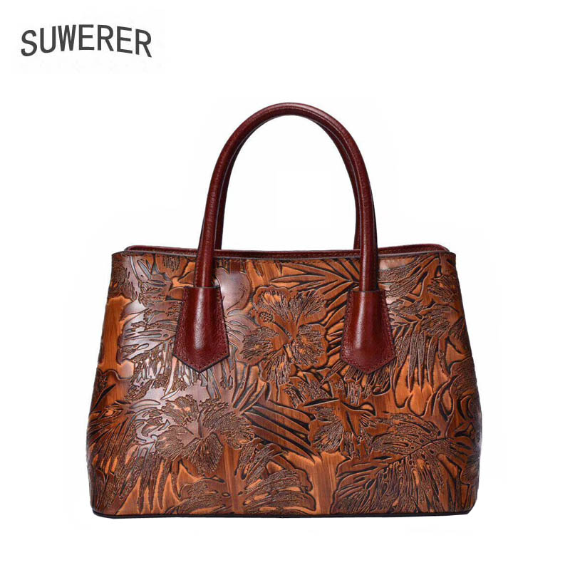 SUWERER 2019 New women genuine leather bags fashion Handmade Embossing cowhide luxury designer tote women leather handbags