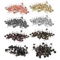 100pcs Antique Brass Upholstery Nails Furniture Tacks Pushpins Hardware Decor