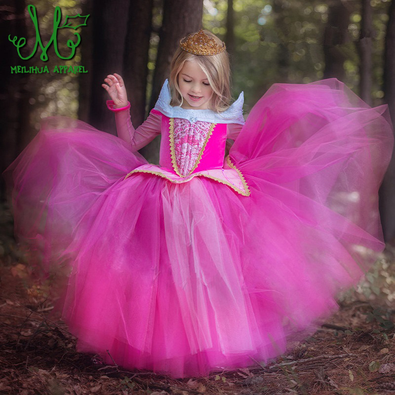 4-12Y Kids Sleeping Beauty Dress 2018 Summer Princess Girls Dresses Aurora Pink Dress for Party Wedding Christmas Gift Robe