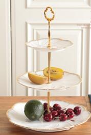 Assiettes à desserts de gâteau en or | Incrustation en or assiettes à 2/3 couches, assiettes à vaisselle, plateau en céramique - 5