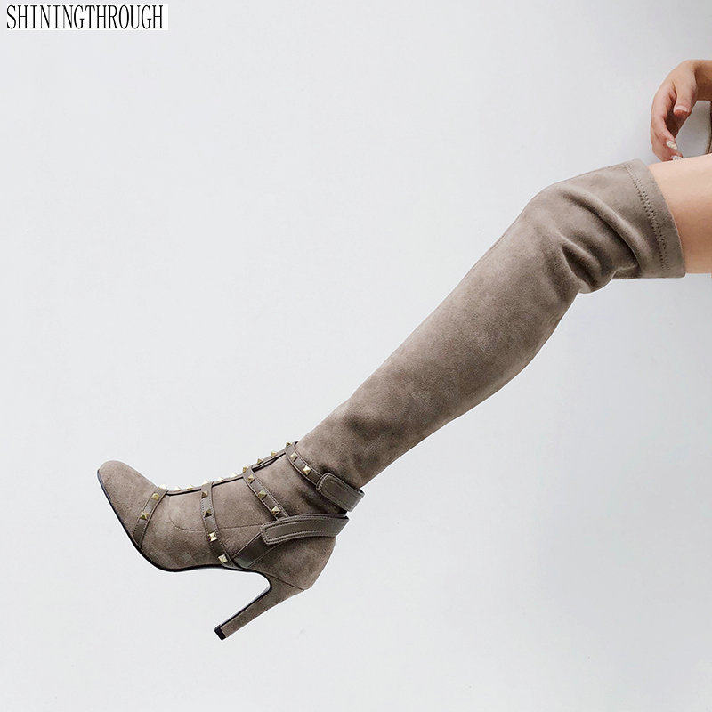 Sexy Over Knee Women Boots suede leather high heels Shoes Woman Rubber Flock Botas woman Winter