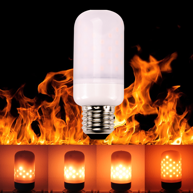E27 E26 E14 <font><b>LED</b></font> lamp Flame Effect Fire Light <font><b>Bulbs</b></font> 5W SMD2835 Flickering Flame Lights 110v 220V Flame Dynamic Light Decor image