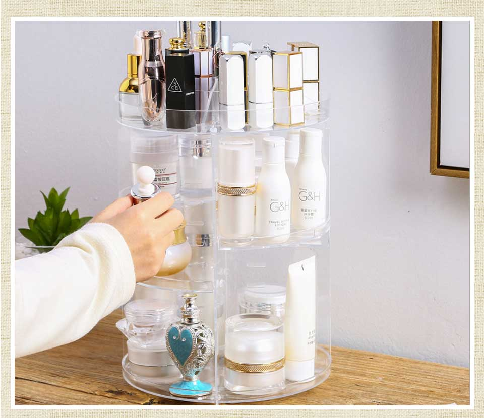 Fashion 360 Degree Rotating Makeup Organizer For Cosmetics Storage Box Plastic Clear AcrylicTransparent Box Jewelry Necklace (6)