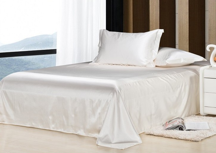 7pcs Luxury White Bedding Set Satin Silk Sheets California