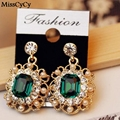 MissCyCy 2016 New Fashion Pendientes simulated pearl Jewelry Shining Crystal Square Earrings for Women