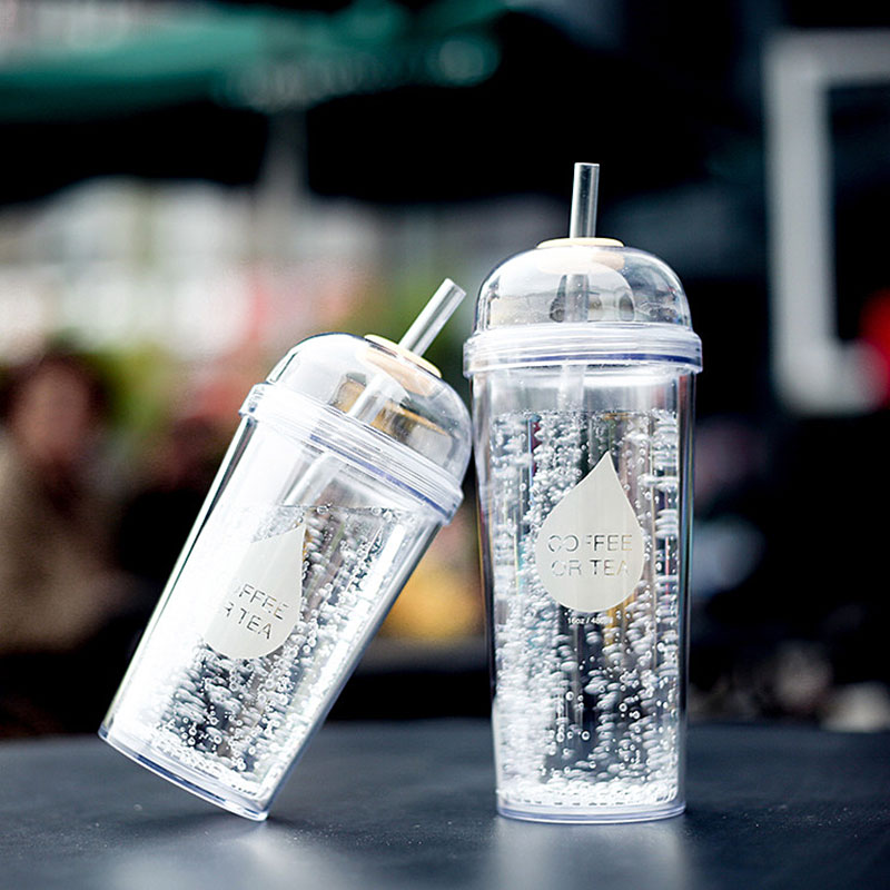 <font><b>Fashionable</b></font> Double Layer <font><b>Plastic</b></font> Water Bottle With <font><b>Straw</b></font> BPA free Portable Clear Body Bottle with <font><b>Straw</b></font> 360ml or 480ml SH104