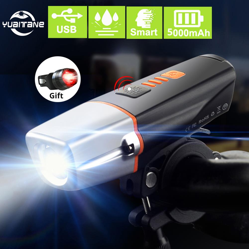 <font><b>15000</b></font> <font><b>Lumens</b></font> Induction Bicycle <font><b>Light</b></font> Set USB Rechargeable <font><b>Bike</b></font> Front <font><b>light</b></font> 5000mAh Battery T6 LED <font><b>Bike</b></font> <font><b>light</b></font> portable Lantern image