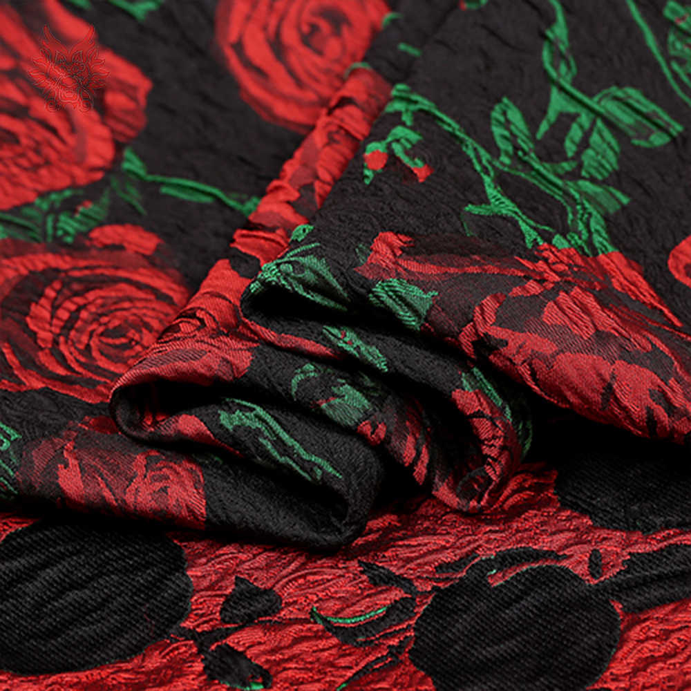 Perancis gaya mewah 3D rose floral jacquard brocade fabric untuk gaun tissu telas stoffen tecidos kain tekstil jahit SP4619