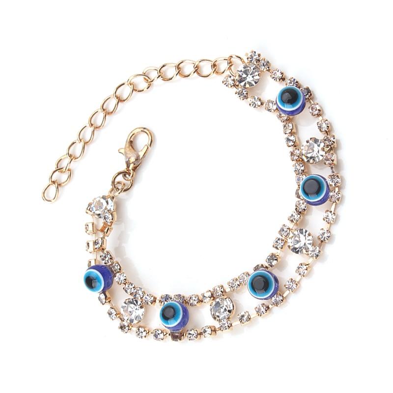 EVIL EYE 1pcs new fashion blue eye gold bracelet trendy round eye gold braclet for woman man jewelry gift