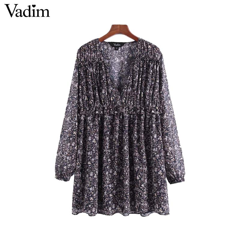 Vadim women chic V neck floral pleated dress ruffled long sleeve pleated  female casual wear vintage 0f769df90519