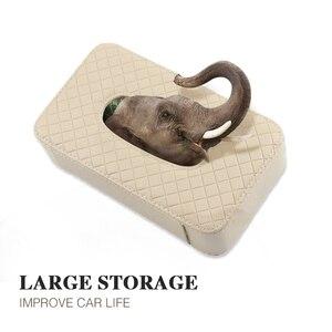 Image 4 - PU leather tissue box car tissue holder sun visor hanging napkin storage box, used for car finishing car accessories
