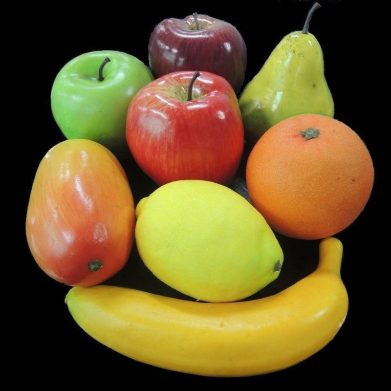 8PCS Fake Banana Apple Lemon Orange Faux Food  Artificial Fruits Simulation Ornament Craft Photography Window Home Decoration