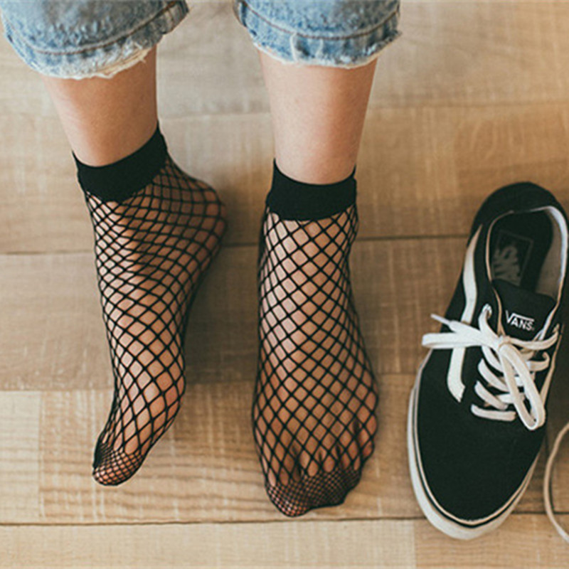 dc7acc650d64a Punk Women Girls Sexy Black Hollow Out Breathable Mesh Fishnet Socks Female  Gothic Stretchable Short Hosiery Ankle Socks