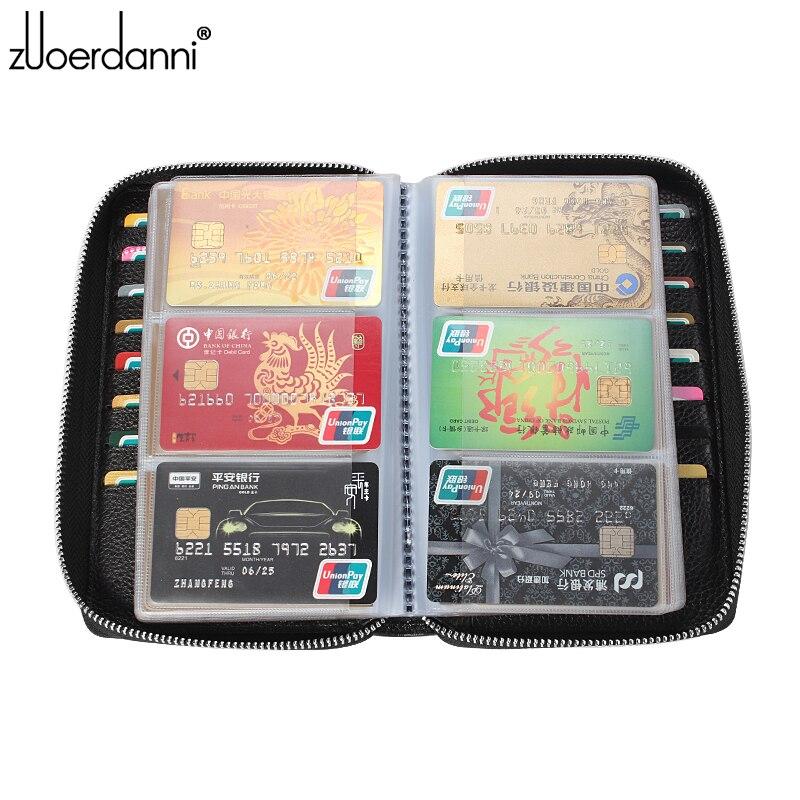 Купить с кэшбэком Large capacity zipper card bag leather men business card holder women's credit card package Fashion A81F