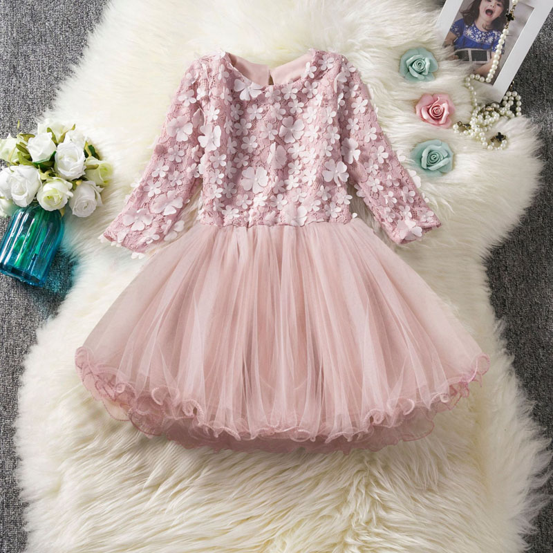 U-SWEAR 2019 New Arrival Kid   Flower     Girl     Dresses   Full Sleevel O-neck   Flower   Appliqued Lace   Girls   Ball Gown   Dresses   Vestidos
