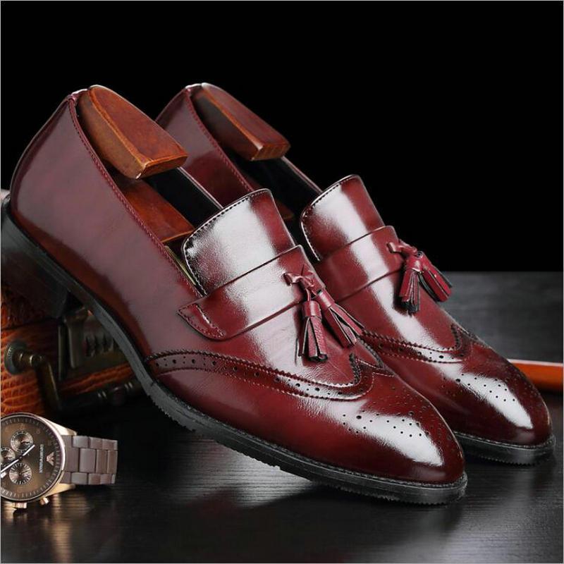 ECTIC 2018 رجل ناضج الأزياء شقة جلد طبيعي - احذية رجالية